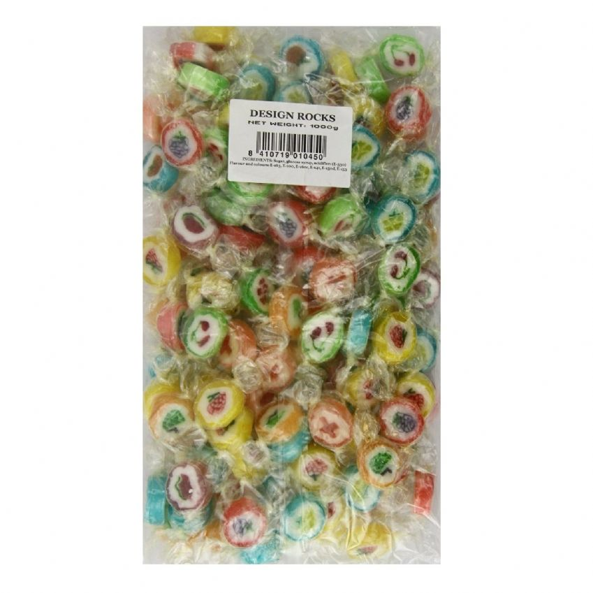 Fun Fruits Flowers Rock Sweets - Fruity Candy Wholesale Bag 1kg